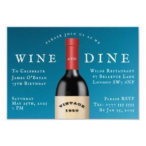 Dine and Wine Vintage Birthday Invitation