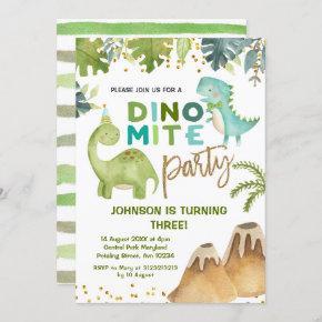 Dino-mite t-rex birthday party invitation