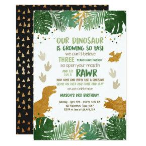 Dino Party Boy Green and Gold Dinosaur Birthday Invitation
