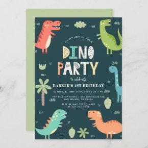 Dino Party | Cute Dinosaurs First Birthday Invitation
