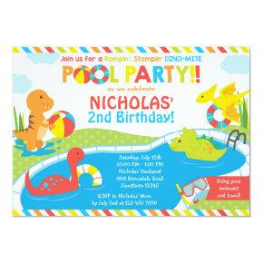 Dino Pool Party Invitations, Pool Party Invite