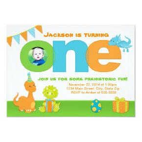 Dinosaur 1st Birthday Invitation Photo Invitations