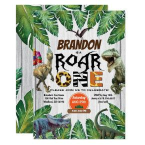 Dinosaur 1st birthday invitation Roar one jurassic