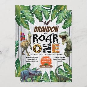 Dinosaur 1st birthday invitation Roar one jurassic