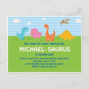Dinosaur 1st Birthday Invite