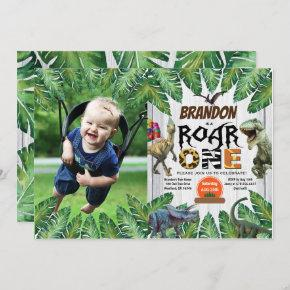 Dinosaur 1st birthday photo invitation jurassic