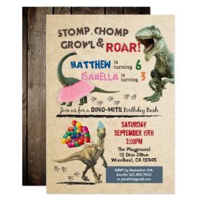 Dinosaur and tutu birthday invitation