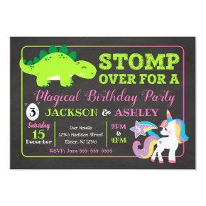 Dinosaur and Unicorn Joint Birthday Invitations