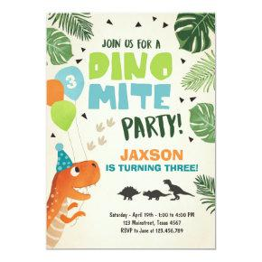 Dinosaur birthday Invitations Dino mite T-Rex party