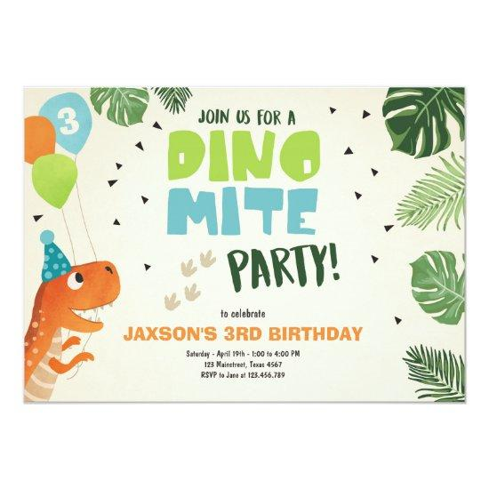 Dinosaur Birthday Invitation Dino Mite T Rex Party