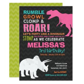Dinosaur Birthday Invitations Girl Party Candied Clouds