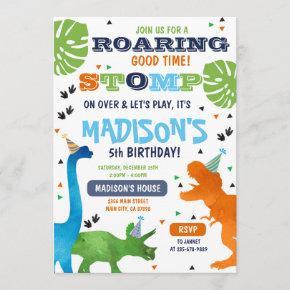 Dinosaur birthday invitation roar stomp on over