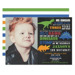 Dinosaur birthday  boy photo invitation