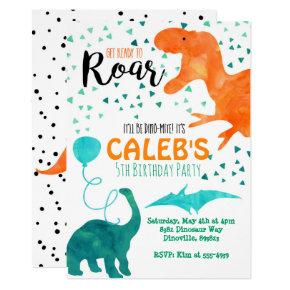 Dinosaur birthday party Invitations watercolor