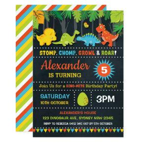 Dinosaur Birthday Party Roar Chalkboard Dino-Mite Invitation