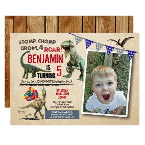 Dinosaur birthday photo Invitations rustic