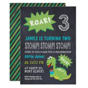 Dinosaur Chalkboard 3rd Birthday Party Invitations