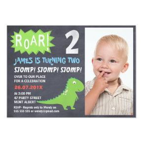 Dinosaur Chalkboard Photo 2nd Birthday Invitations