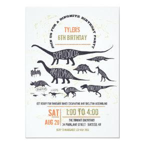 Dinosaur Chart Invitations