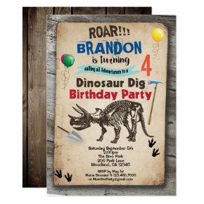 Dinosaur dig birthday invitation rustic realistic