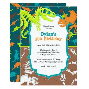 Dinosaur Dig Birthday Party Invitations