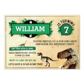Dinosaur Dig Birthday Party Invitations TRex Invite