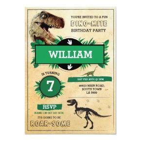 Dinosaur Dig Birthday Party T-Rex Dino Invite