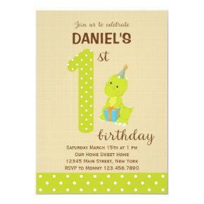 Dinosaur First Birthday Invitations