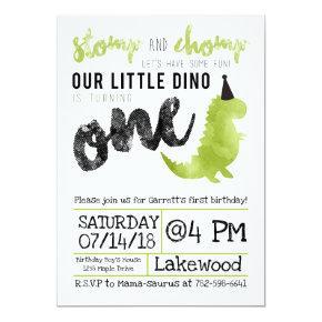 Dinosaur Invitation Stomp and Chomp First Birthday