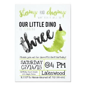 Dinosaur Invitation Stomp and Chomp Third Birthday