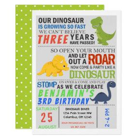 Dinosaur Kids Birthday Party Invite