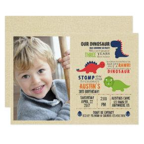 Dinosaur Photo Birthday Inviations Invitations
