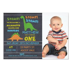Dinosaur Photo Chalkboard 1st Birthday Invitations