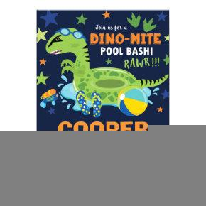 Dinosaur Pool Birthday Party Bash Boy Dino Floatie Invitation