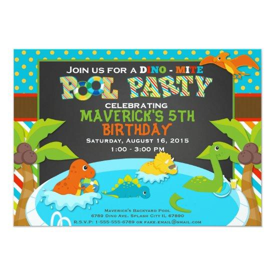dinosaur pool party invitations birthday party candied clouds