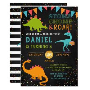 Dinosaur Roar Chalkboard Confetti Birthday Invitation