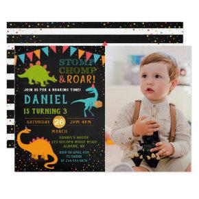 Dinosaur Roar Chalkboard confetti Birthday Photo Invitation