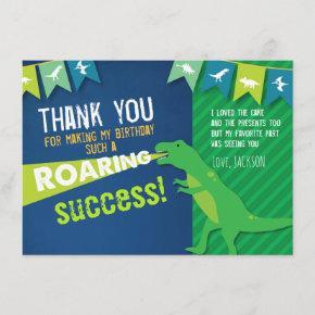 Dinosaur Roaring Boy Birthday Thank You Card