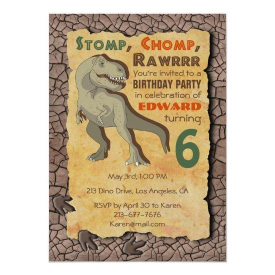 Dinosaur T Rex Birthday Party Invitations