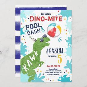 Dinosaur T-Rex Dino Mite Pool Bash Boy Blue Party Invitation