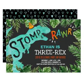 Dinosaur Three-Rex Birthday Invitation Boy Dino