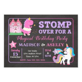 Dinosaur & Unicorn Joint Birthday Invitation Girls