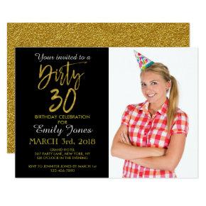 Dirty 30 Gold Foil Birthday Invitations