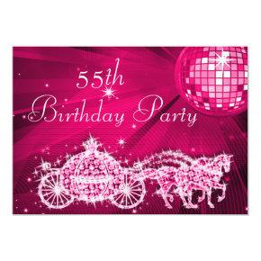 princess 55th party birthday invitations candied clouds