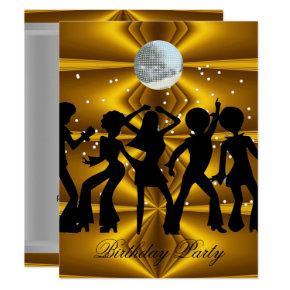 Disco Dance Birthday Party disco ball Invitation