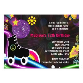 Disco Glow Roller Skating Skate Party Invitations