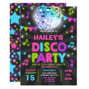 Disco Party Invitation Glow Disco Party Invite