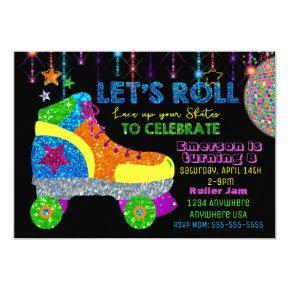 Disco Roller Skate Party, Skating, glitter Invitation