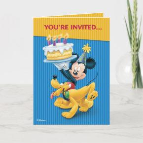 Disney Mickey Mouse & Pluto Birthday Party Invitations