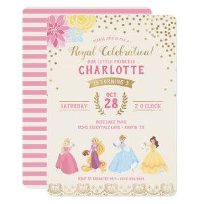 Disney Princess | Floral Gold Confetti Invitations